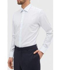 camisa cuello italiano estampado blanco/celeste trial