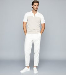 reiss alessano - press stud colour block polo shirt in natural, mens, size xxl
