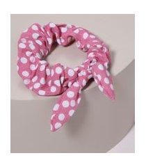 elástico de cabelo scrunchie com estampa de poá e laço rosa