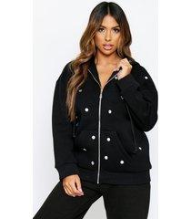 jewel embellished front zip hoodie, black