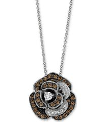 "le vian chocolatier diamond rose 18"" pendant necklace (5/8 ct. t.w.) in 14k white gold"