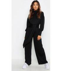 cut & sew jumpsuit met vleermuismouwen en col, zwart