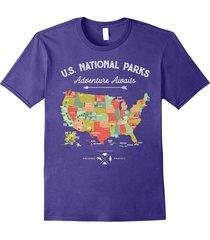 national park map vintage t shirt - all 59 national parks men