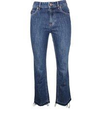red valentino cotton cropped denim jeans