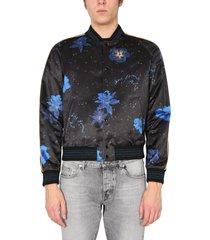 saint laurent teddy jacket with hibisco confetti pattern