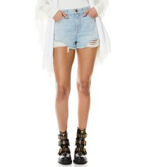 alice + olivia amazing distressed high waist cutoff denim shorts, size 25 in silver lining at nordstrom
