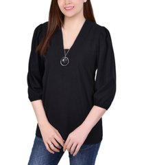 ny collection petite balloon sleeve pullover with necklace