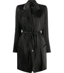 ann demeulemeester belted lightweight coat - grey