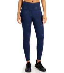 ideology embossed-star high-waist 7/8 length leggings, created for macy's