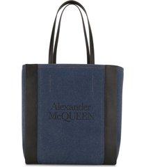 alexander mcqueen signature denim shopper tote - blue