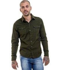 camisa jeans militar premium slim fit masculina
