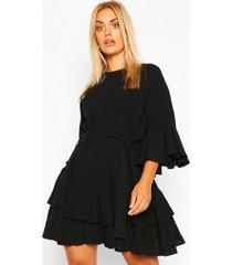 plus katoenen gesmokte jurk met ceintuur, zwart