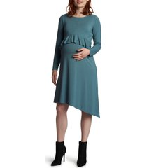 women's everly grey melissa long sleeve peplum maternity/nursing dress, size small - green