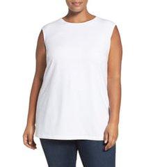 plus size women's nic+zoe 'perfect layer' tank, size 1x - white