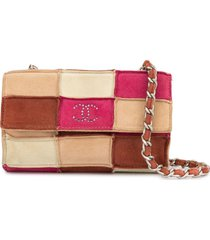 chanel pre-owned patchwork cc chain shoulder bag - pink