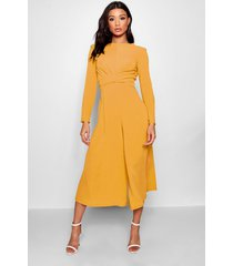 knot front woven culotte jumpsuit, rust