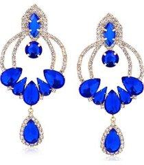 maxi brinco luxo com cristais azuis folheado francisca joias