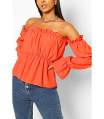 tall bardot volume sleeve top, orange