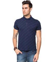 camisa polo piquet tony menswear com elastano e micro estampa azul marinho