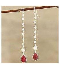 multi-gemstone dangle earrings, 'harmonious glow' (india)