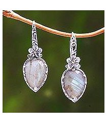 gold accented labradorite dangle earrings, 'touch of jepun' (indonesia)