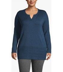 lane bryant women's notch-neck sweater with pointelle hem 14/16 moonlit ocean