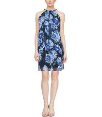 sl fashions embellished floral-print a-line dress