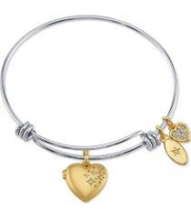 fine silver plated satin heart locket adjustable bangle bracelet