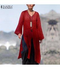 zanzea mujer de manga larga camisa de las tapas ocasionales flojos de split hem cascada de la blusa plus jumper -rojo
