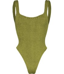 hunza g classic square neck swimsuit - green