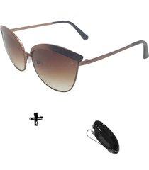 oculos de sol feminino volpz miami 2.0 com suporte veicular - cobre - feminino - dafiti