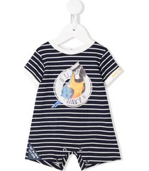 lapin house short sleeve sailor parrot romper - blue