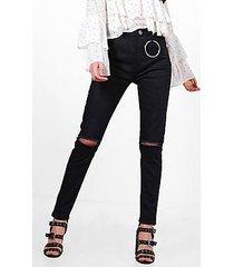 katie high waist ring detail skinny jeans