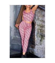 sexy 2-piece set broek met zakken + cropped top roze