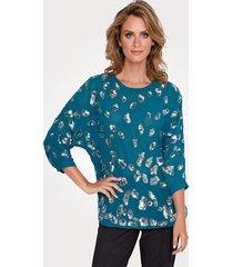 blouse mona turquoise::zilverkleur
