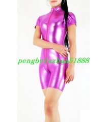 sexy rose red shiny metallic short suit catsuit front long zipper costumes s752