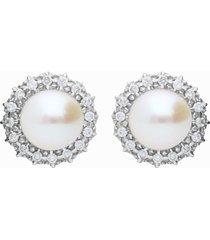 orecchini in oro bianco con perle e diamanti 0,24 ct per donna