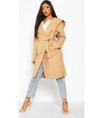 hooded belted shawl coat, camel