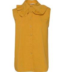 beate blouse mouwloos geel stella nova