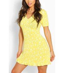 jurk met v-hals en ruches, geel