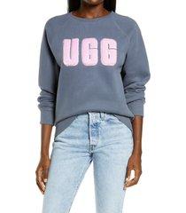 women's ugg collection madeline fuzzy logo sweatshirt, size x-large - blue