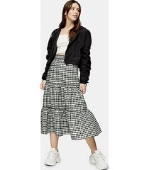 mint gingham check tiered skirt - soft mint