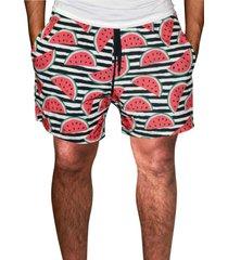 shorts estampado j10 tactel c/ elastano bolsos laterais j10 01034 vermelho