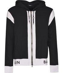 balmain hem logo print zipped hoodie