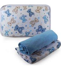 jogo de cama appel berã§o em malha 3 peã§as - urso azul, - azul - menino - dafiti
