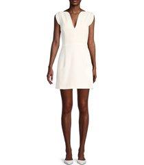 french connection women's lola v-neck mini dress - summer white - size 12