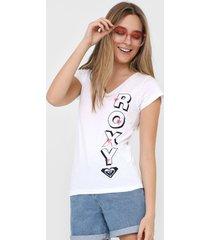 camiseta roxy letrer branca
