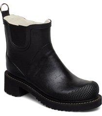 short rub high heel shoes boots rain boots ankle boots flat heel svart ilse jacobsen