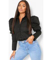 blouse met pofschouders, zwart