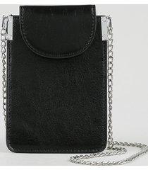 bolsa porta celular feminina pequena com alça de corrente preta